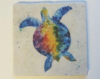 Turtle colorful Tumbled Stone Trivet Original Watercolor