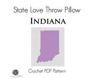State Love Throw Pillow - INDIANA, *Crochet PDF Pattern*, Charted Pattern, Intarsia