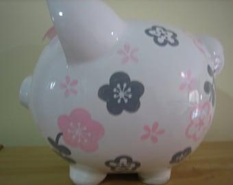 Personalized Large Pink/ Grey flowers Piggy  Bank Newborns , Birthday,Girls,Flower Girl,Baby Shower Gift Centerpiece