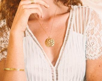 14K Gold Necklace 14K Solid Gold Necklace Solid Gold necklace for woman necklace pendant gold sacred geometry jewelry flower of life