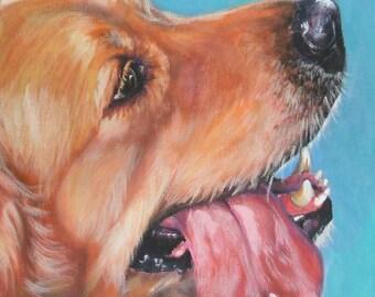 Golden Retriever portrait dog art CANVAS print of LA Shepard painting 12x12