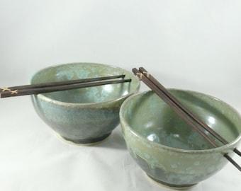 Chopstick Bowl , Ramen Bowl, Ceramic Rice bowl, noodle bowl, lichen glaze, Thai food, pho bowl , kitchen dinnerware  - Colorado made pottery