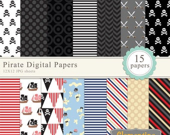 Pirate digital papers, digital scrapbooking paper, royalty free commercial use- Instant Download