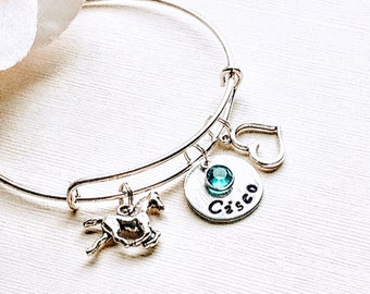 Horse jewelry, horse bracelet, personalized birthday gift cowgirl jewelry hand stamped Horse lover horse charm bracelet, Christmas jewelry