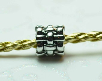 Basket Weave Spacer Bead  For European Style Charm Bracelet - Silver Plated