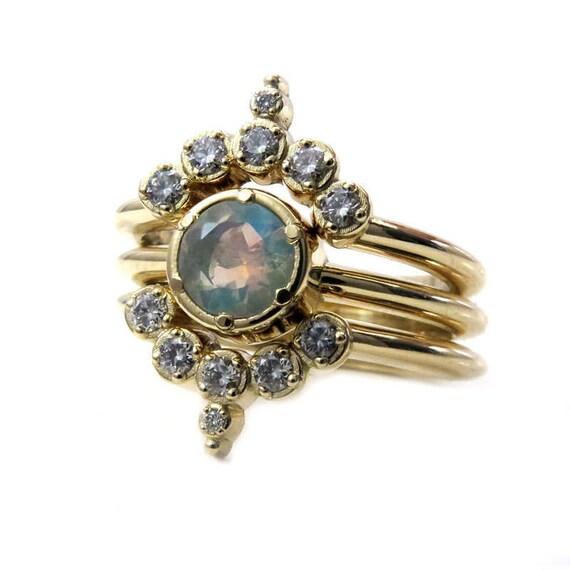 Opal and Diamond Engagement Ring Set - Gold Nesting Wedding Rings - Modern Boho