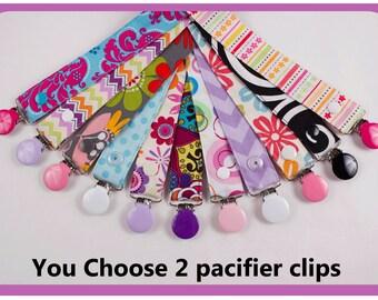 2 Girl Pacifier Clips, Nuk Soothie Gumdrop MAM Avent