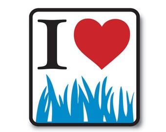 """1 """"I Love Bluegrass"""" Vinyl Bumper Sticker - Indoor or Outdoor"""