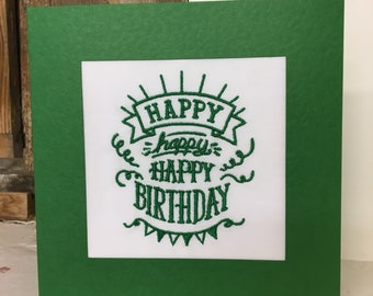 Happy Birthday Embroidered Greeting Card