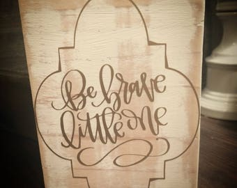 Distressed wood block sign