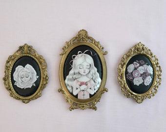 Never Grow Old -  Miniature vintage framed silk print, lowbrow art, pop surrealism, nicole dollanganger
