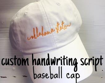 Custom Handwriting Script Baseball Cap - Customizable Shoreline Baseball Hat