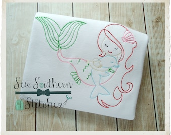 Sweet Mermaid Girl With Dolphin ~ Instant Download ~ Vintage~Sketch~Bean~Heirloom Stitch