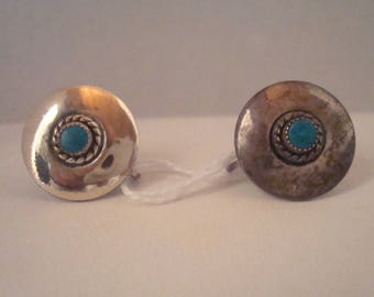 Vintage sterling and turquoise non-pierced earrings