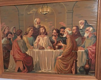 Vintage Paint by Number Jesus and Disciples Last Supper