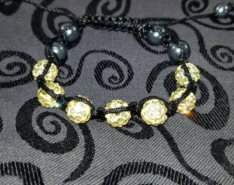 Soft yellow Swarovski adjustable bracelet