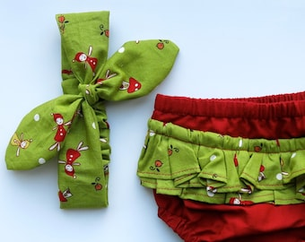 Organic Christmas baby bloomers / Girls 0-3 months / Girls Knotted Headband / Baby shower gift / Twisted Headscarf / Organic baby clothes