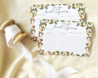 Recipe Cards for Bride and Groom, Recipe Cards, Bride and Groom Recipe, Printable