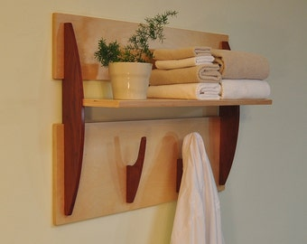 Modern Wall Shelf with 2 Hooks, Cantilevered Shelf in Cherry Barnwood and Baltic Birch. Towel Hooks, Robe Hooks, Coat Rack, Backpack Hooks