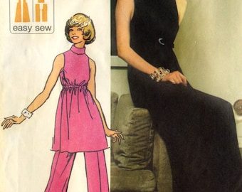 Vintage 70s Simplicity 5298 UNCUT Misses Knit Evening Dress, Tunic and Pants Sewing Pattern Sz 12 Bust 34