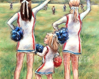 "Cheerleader  girl sports - ORIGINAL pastel painting - art for children ""Little Cheers, Big Dreams"" Laurie Shanholtzer 16x20"