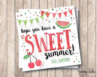 Hope You Have A Sweet Summer, Personalized Printable Summer Tags, Printable End of Year Tags, Printable School's Out Tags
