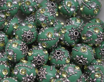 INDONESIA BEAD, (qty 1)  tribal bead, ethnic bead, handmade, clay bead, beading supply, green, sage green, affordably priced, destash beads