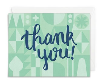 Thank you card geometric design, modern handlettered cards, thanks card, thank you cards, small world inspired, mid century retro cards