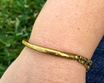 Brass Bead and Tube Bracelet from Ethiopia