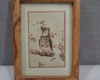 Framed Owl Print, Vintage Owl and Cherry