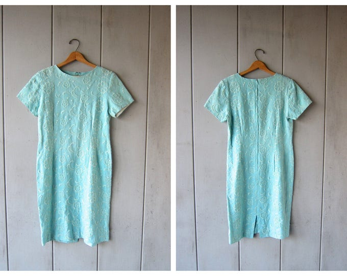 60s Blue Embroidered Dress
