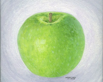 "Original Granny Smith Painting, 6"" X 6"" Gallery Wrapped Canvas, Fruit Painting, Kitchen Art, Small Format Art, Food Art"
