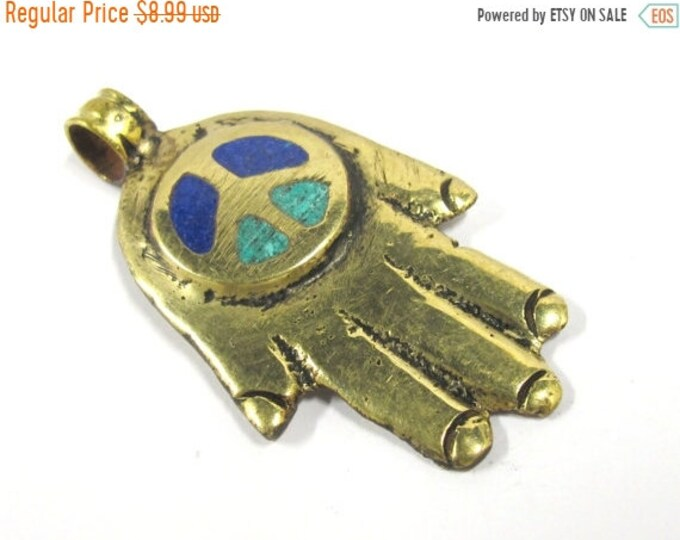 SALE 1 Pendant - Tibetan Buddha hand peace symbol brass pendant with turquoise lapis inlay -  PM381C