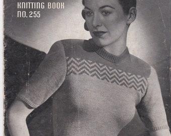 ON SALE Vintage 1940s - Paton's Knitting Pattern No 255 For Women/Ladies - Original Pattern
