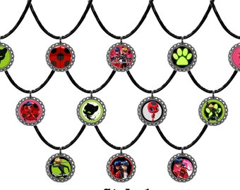 12x Miraculous ladybug party favor necklaces