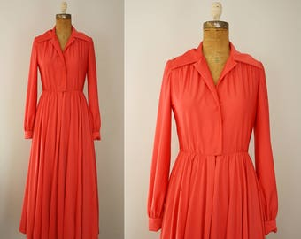 1970s maxi dress | vintage 70s coral house dress