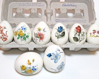 Set of Eight White Porcelain Eggs Painted or Decal with Flowers. Collectible Floral Chicken Eggs. Floral Egg Collection.