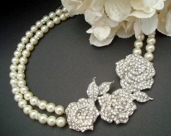 rhinestone brooch Pearl Necklace vintage style Bridal necklace statement necklace Pearl and Rhinestone Wedding Necklace bridal jewelry ROSIE