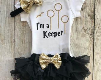 Harry Potter Inspired Baby Girl Outfit - I'm a Keeper - Coming Home Outfit - Baby Girl Harry Potter Inspired Outfit