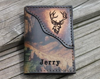 HandcraftedREALTREE Camo Leather Trifold with Tooled Deer Head--NAME or Initials Engraved Free!! Made in the USA!