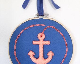 Anchor wall decor - nautical decor - nautical nursery - gift for sea lovers- coral peach, pool blue felt color - nursery wall hanging