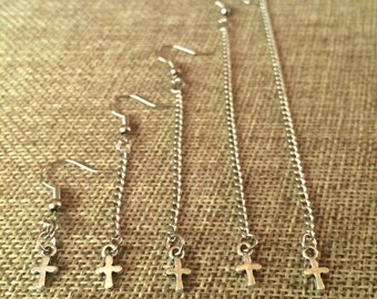 Tiny Cross Earrings - Silver Cross Earrings in Your Choice of Five Lengths - Dangle Earrings / Long Earrings / Chain Earrings