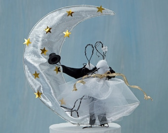 Fly me to the Moon wedding cake topper, celestial cake top, wire wedding cake top, figurine cake topper, moon cake top, bride groom cake top