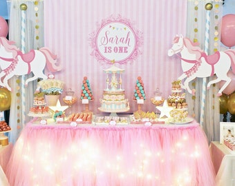 DIGITAL FILE Carousel Party Banner Backdrop Poster, Carousel Large Scale Backdrop, Dessert Table Backdrop, 60x40 inches
