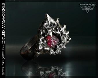 "Rhodolite ring""Overture"", druid magic ring, statemement ring."