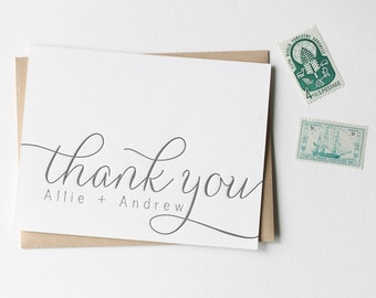 Letterpress Thank you card set customized with names, folded thank you notes in calligraphy