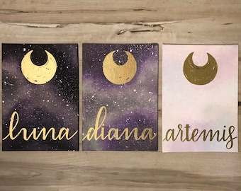 """""""Moon Cats"""" - Painted Canvases Inspired by Sailor Moon - Set of All Three"""