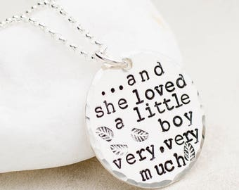 Boy Mom Necklace, She Loved a Little Boy, Mother's Day Gift, Gift for Mom, Mother's Necklace, Necklace for Mom, Sterling Silver, Mother Gift