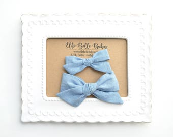Bright Blue Chambray Schoolgirl Hair Bow - Hand-tied hairbow-Evy bow -Cotton Baby Headband - Newborn Hairbow - Toddler Hair Clip