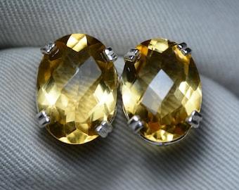 SCRATCHED Citrine Earrings, Certified 20.01 Carat Citrine Stud Earrings Appraised 1,000.00 Sterling Silver, Real Natural Genuine November